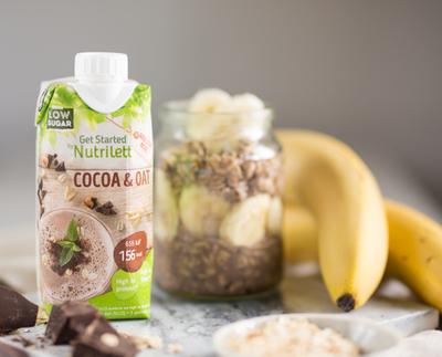 Tuotekuva: Get Started by Nutrilett Cocoa & Oat pirtelöjuomapakkaus.