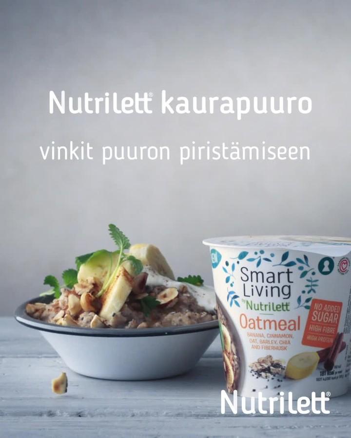 """Tuotekuva: Smart Living by Nutrilett -mainos, jossa teksti """"Nutrilett kaurapuuro, vinkit puuron piristämiseen""""."""