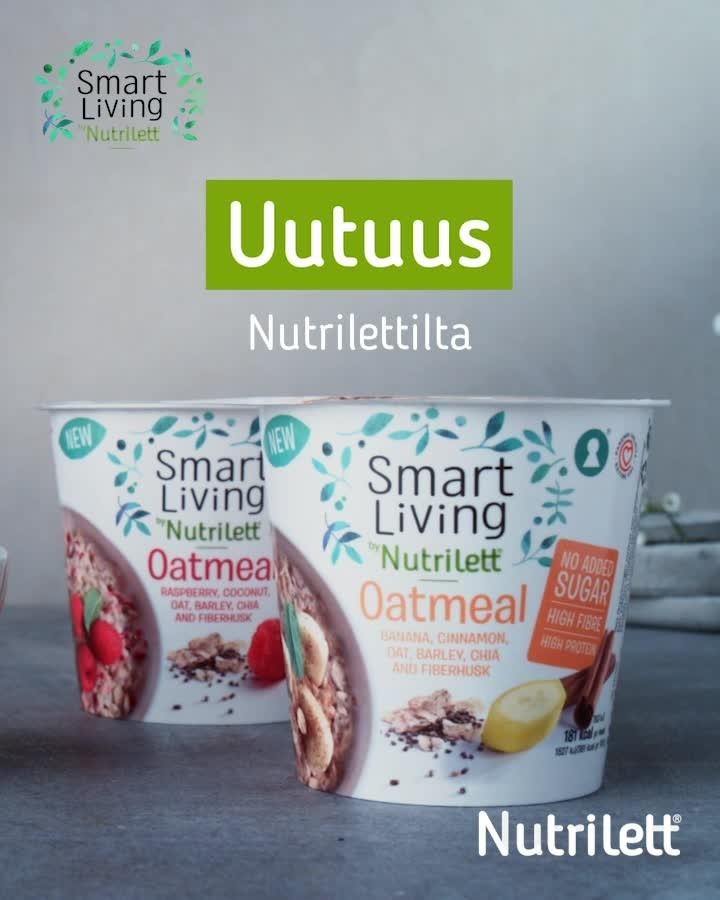 """Tuotekuva: Smart Living by Nutrilett -mainos, jossa teksti """"Uutuus Nutrilettilta"""" ja kaksi tuoteperheen kaurapuuro pakkausta."""