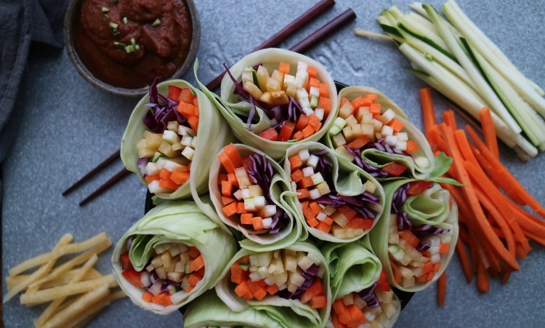 Vähäkaloristen kasvirullien resepti.