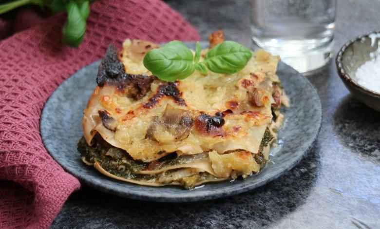 Pinaatti-kasvislasagne sopii esimerkiksi kevyeksi lounaaksi.